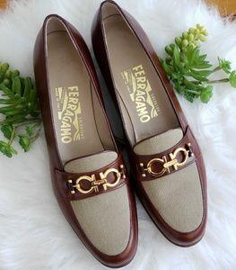 Salvatore Ferragamo Brown Leather Buckle Loafers